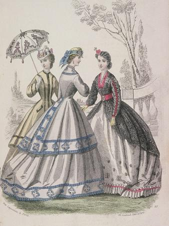 Three Women Wearing the Latest Fashions, One of the Women Is Shading Herself with a Parasol, 1864