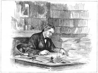 Thomas Henry Huxley, British Biologist, at His Desk in 1882