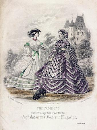 Two Women Wearing the Latest Fashions in an Outdoor Setting, 1860