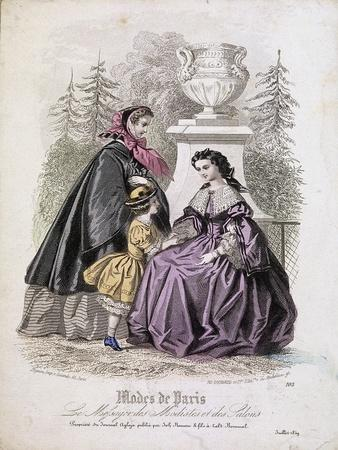Two Women and a Child Wearing the Latest Fashions in a Garden Setting, 1858
