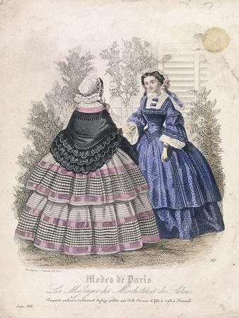 Two Women Wearing the Latest Fashions in a Garden Setting, 1858