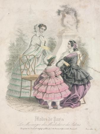 Two Women and a Child Wearing the Latest Fashions in a Garden Setting,1858