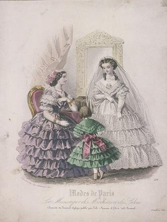Two Women and a Child Wearing the Latest Fashions, 1860