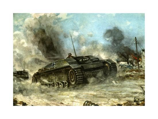 German Tank in Action on the Russian Front, World War II, 1942-1943