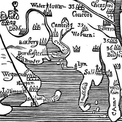 Early Map of Massachusetts Bay, USA