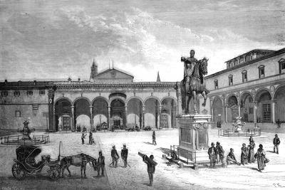 Piazza and Church of the Santissima Annunziata, Florence, Italy, 1882