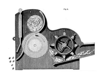 Cross-Section of Eli Whitney's (1765-182) Saw-Gin for Cleaning Cotton, 1865