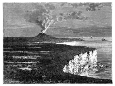A Shield Volcano on Reunion Island, Indian Ocean, C1890