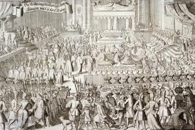 Coronation of William III and Mary II in Westminster Abbey, London, 1689