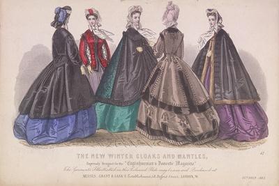 Five Women Wearing the Latest Winter Fashions, 1863