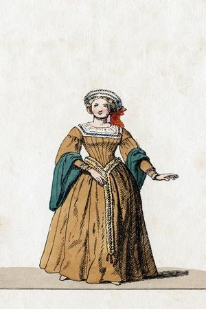 Lady-In-Waiting, Costume Design for Shakespeare's Play, Henry VIII, 19th Century