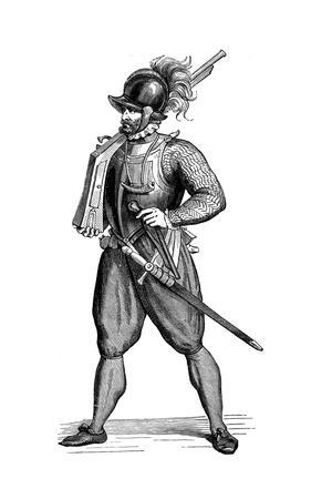 Foot Soldier Carrying an Harquebus, 1590