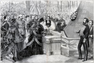 The Princess of Wales Launching the New Ironclad Ship Alexandra, 1875