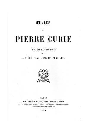 Title Page of Oeuvres De Pierre Curie, 1908