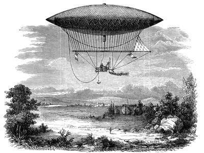 Henri Giffard's Steam Powered Steerable (Dirigibl) Airship, 1852
