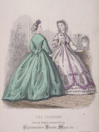 Two Women Wearing the Latest Fashions, 1864