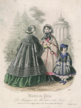 Two Women and a Child Wearing the Latest Fashions in a Garden Setting, 1860