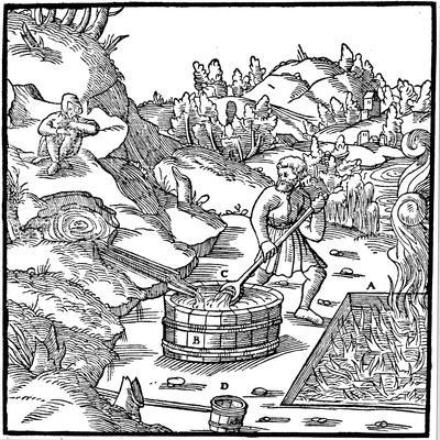 Producing Salt by Evaporating Natural Brine by Pouring it into a Pit of Burning Charcoal, 1556