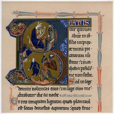 Illuminated Initial Letter 'B, 13th Century