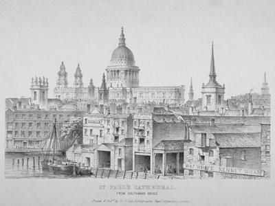 St Paul's Cathedral from Southwark Bridge, City of London, 1835