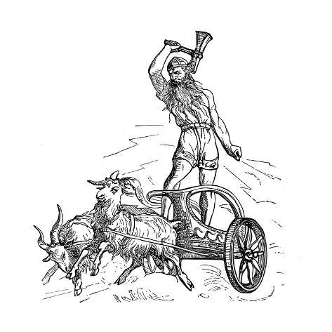 Thor Riding In Chariot Drawn By Goats And Wielding His Hammer Giclee