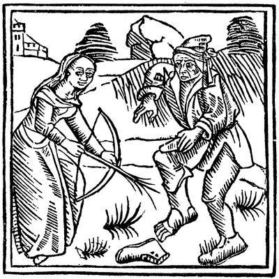 Witch Shooting a Man in the Foot with an Enchanted Arrow Made from a Hazel Wand, 1489