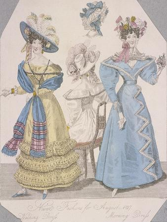 Two Women Wearing Walking Dress and Morning Dress, 1827