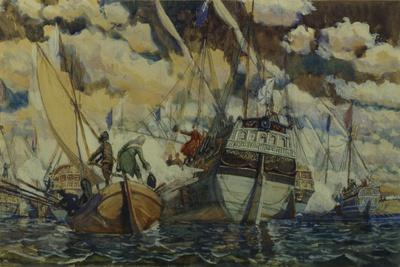 Peter I and Lefort (The Fleet of Peter I on Lake Pleshcheyev), 1927