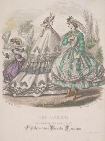 Two Women and a Child with a Butterfly Net Model the Latest Fashions, 1864