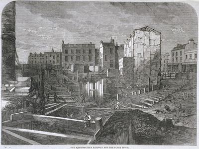 Construction of the Metropolitan Railway and Fleet Ditch, London, 1862