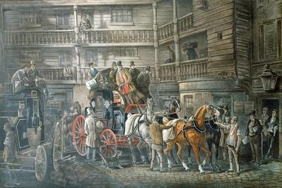 Inn Yard with Mail Coach Preparing to Leave, C1840