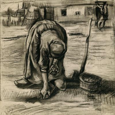 Peasant Woman Planting Potatoes