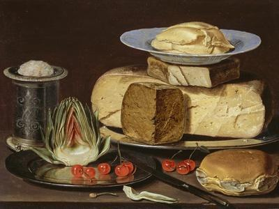 Still Life with Cheeses, Artichoke, and Cherries, Ca 1625