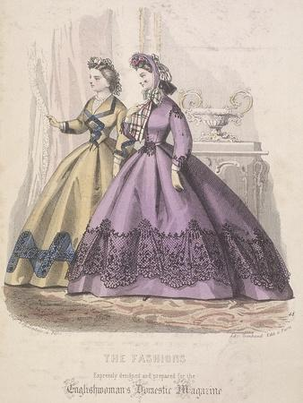 Two Women Model the Latest Fashions, 1864