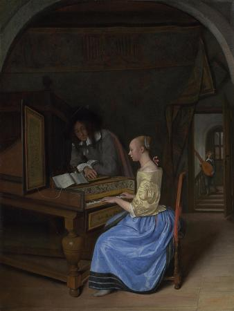 A Young Woman Playing a Harpsichord, C. 1660