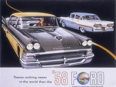 Poster Advertising the Ford Fairlane Car, 1958