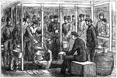 Serving Out Porter on a Troop-Ship, 1878