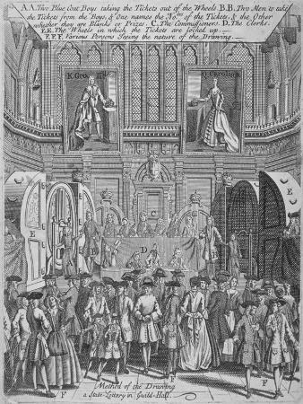 Drawing of the State Lottery in the Guildhall, City of London, 1739