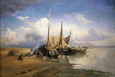 View of the Volga. Boats, 1870