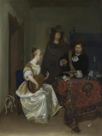 A Woman Playing a Theorbo to Two Men, Ca 1668