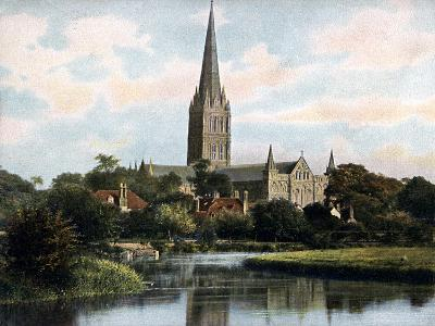 Salisbury Cathedral as Seen from the River Avon, Salisbury, Wiltshire, Early 20th Century