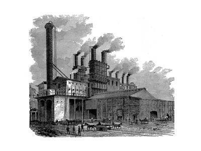 Blast Furnaces at the Phoenix Iron and Bridge Works, Phoenixville, Pennsylvania, USA, 1873