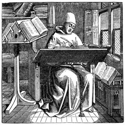 Monk at Work on a Manuscript in the Corner of a Scriptorium, 15th Century