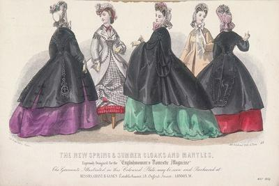 Five Women Wearing Spring and Summer Coats and Mantles, 1864