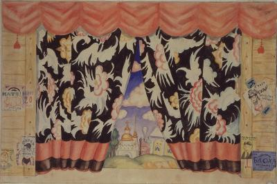 Sketch of Curtain for the Theatre Play the Flea by E. Zamyatin, 1925-1926