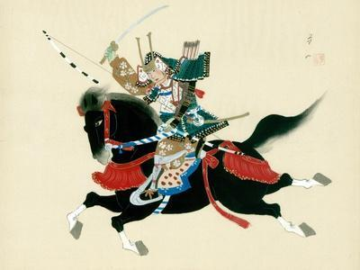Samurai Warrior Riding a Horse, a Japanese Painting on Silk, in a Traditional Japanese Style