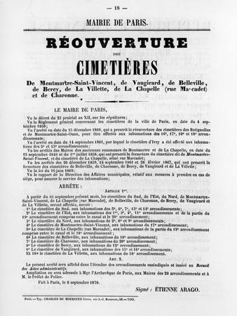 Reouverture Des Cimetieres, from French Political Posters of the Paris Commune, May 1871