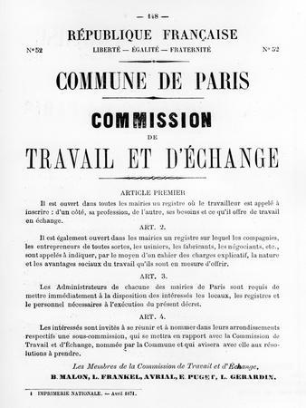 Travail Et D'Echange, from French Political Posters of the Paris Commune, May 1871