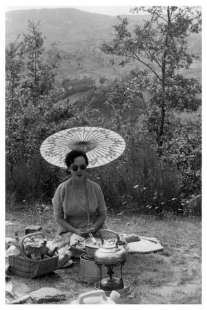 Woman under a Parasol Having a Picnic, C1950-1969