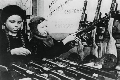 Young Girls Assembling Machine Guns in a Russian Factory, 1943